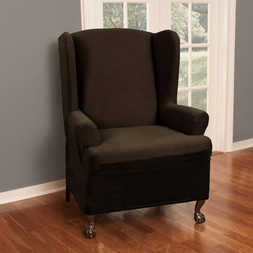 wingback chair cover old wooden barrel chairs wing covers walmart com product image maytex stretch reeves 1 piece furniture slipcover