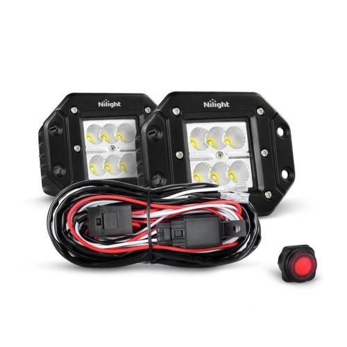 small resolution of nilight 2pcs 18w flood flush mount led work light fog lights off road lights driving lights with off road wiring harness 2 years warranty walmart com