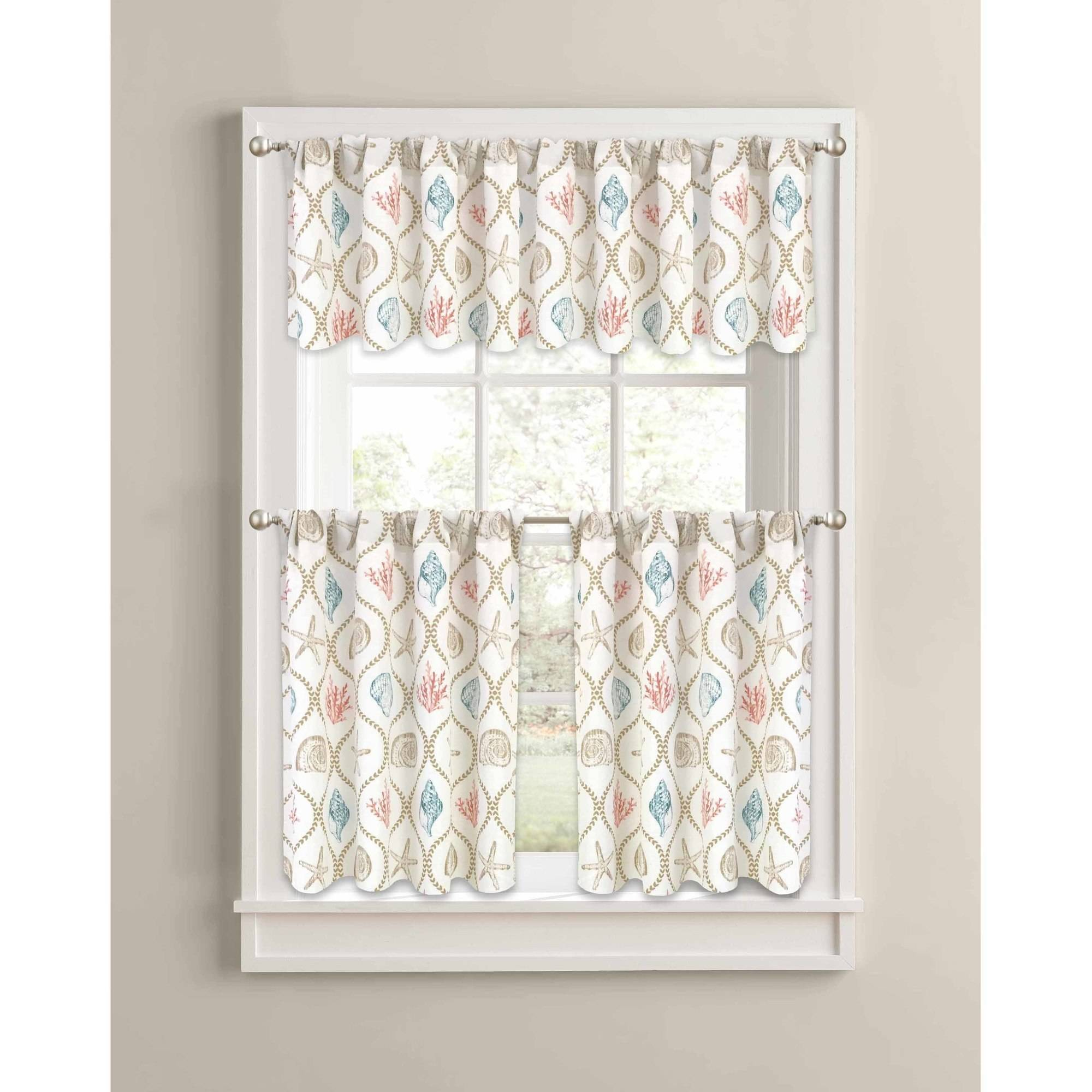 Better homes and gardens kitchen curtains - Better Homes And Gardens Coral Aqua Ogee Shells Kitchen Curtains