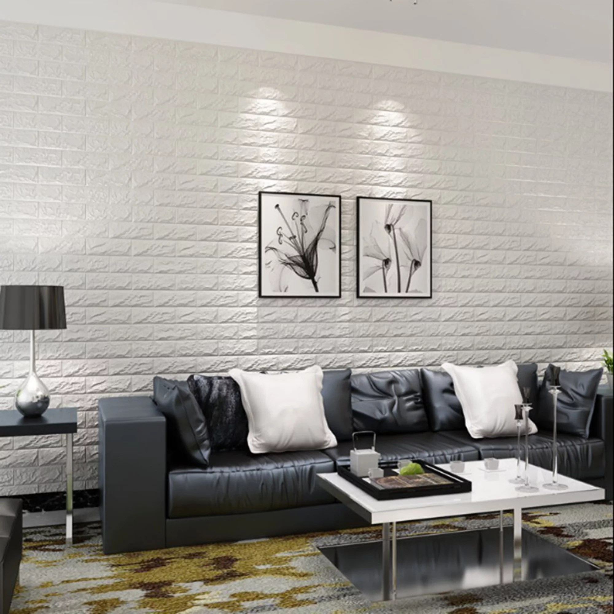 Nk Home 23 5x11 5inch 3d Pell And Stick Brick Wallpaper Wall Sticker White Modern Concise Style Home Bedroom Living Room Restaurants Sofa Tv