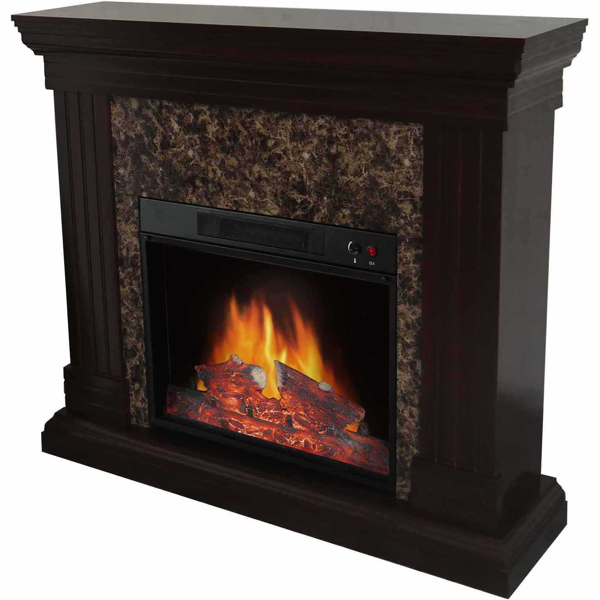 Decor Flame Electric Space Heater Fireplace with 44 Mantle  Walmartcom