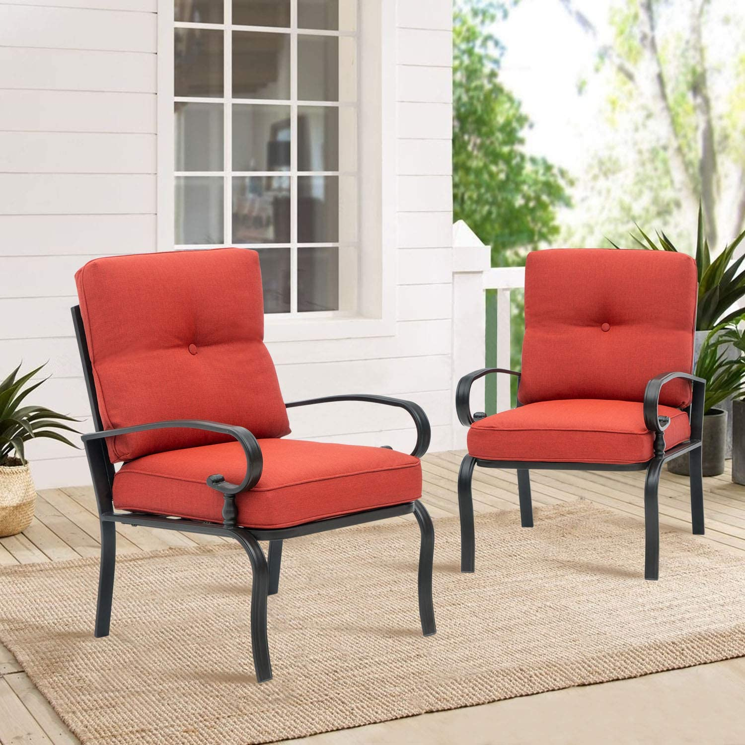 suncrown patio chairs metal dining chair outdoor black wrought iron bistro sets with red patio furniture cushions set of 2 walmart com