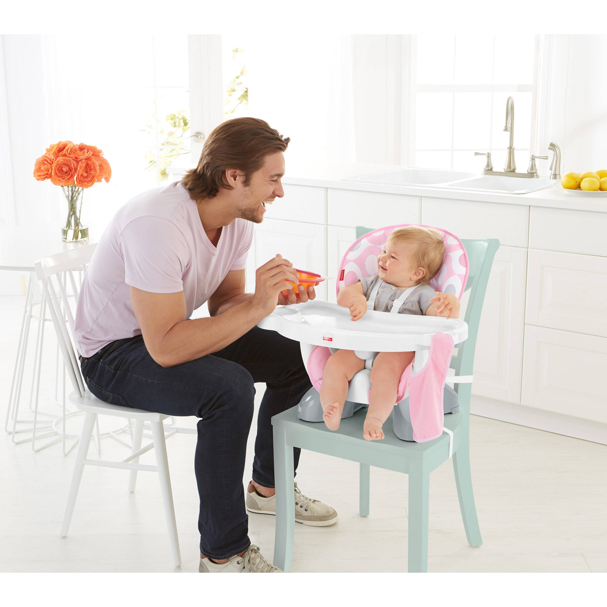 fisher price space saving high chair thomas table and chairs spacesaver pink ellipse walmart com