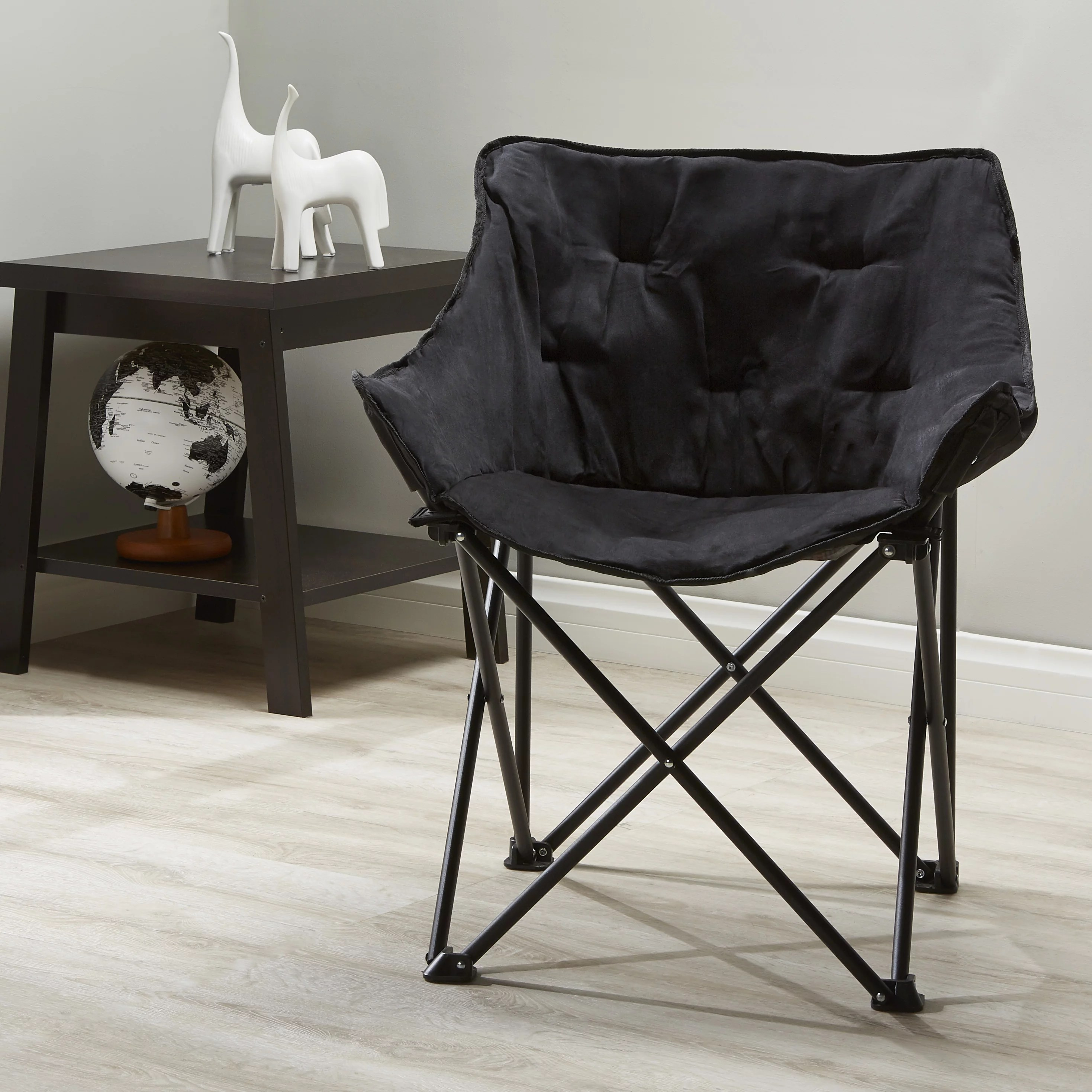 Collapsible Chair Mainstays Collapsible Square Chair Black Microsuede