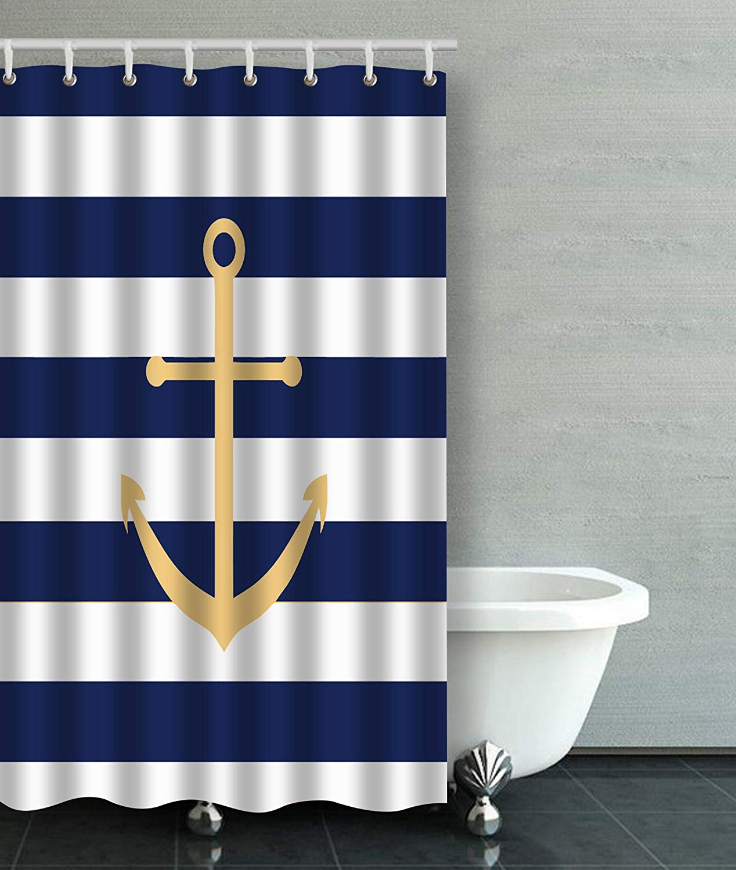 artjia navy blue and yellow anchor bathroom shower curtain 36x72 inches walmart com