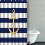 Artjia Navy Blue And Yellow Anchor Bathroom Shower Curtain 36x72 Inches Walmart Com Walmart Com