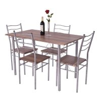 Costway 5 Piece Dining Table Set Wood Metal Kitchen