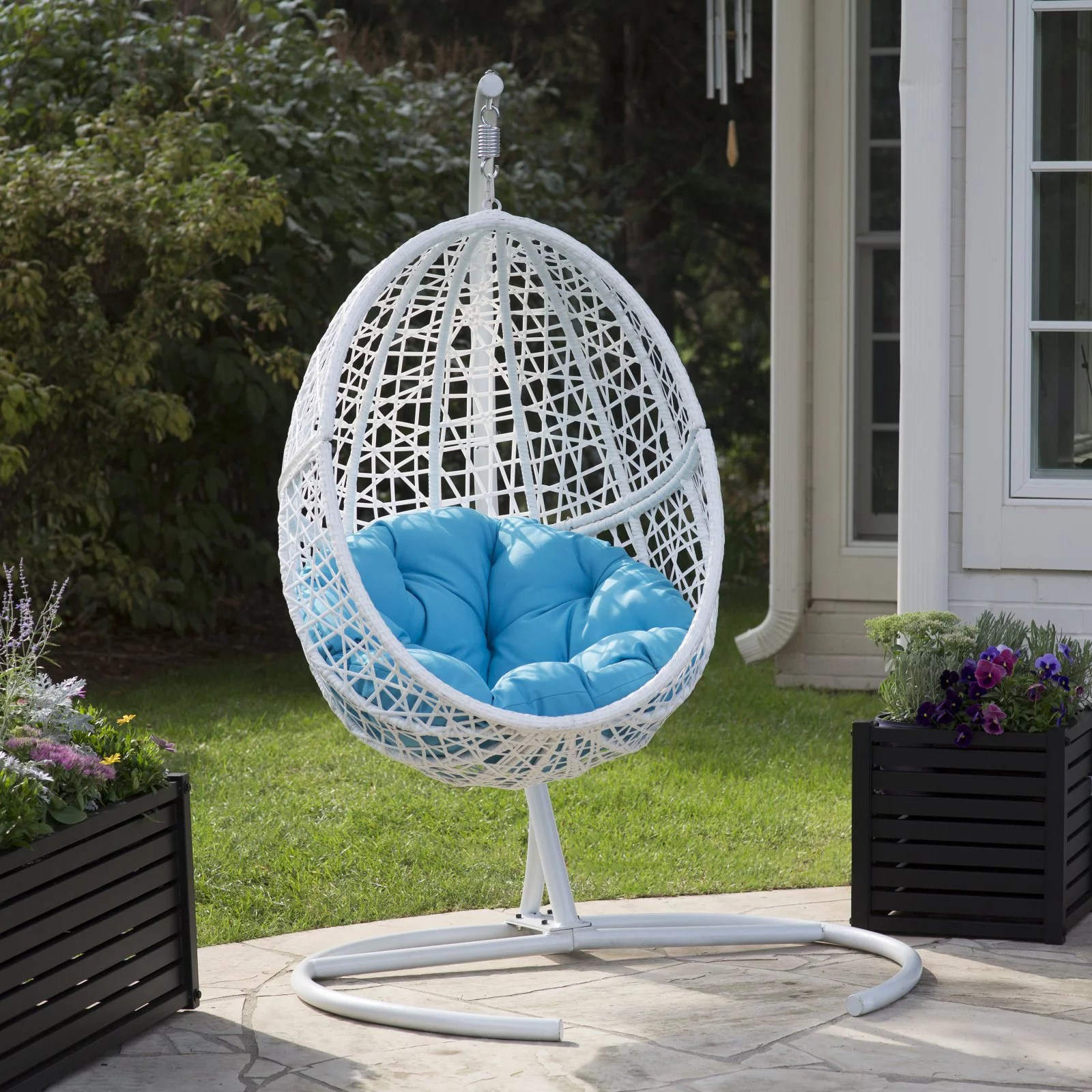 indoor hanging egg chair with stand farmhouse table chairs outdoor walmart com product image belham living resin wicker blanca cushion color option and