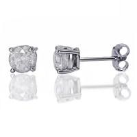1 Carat T.W. Round Diamond Sterling Silver Stud Earrings ...