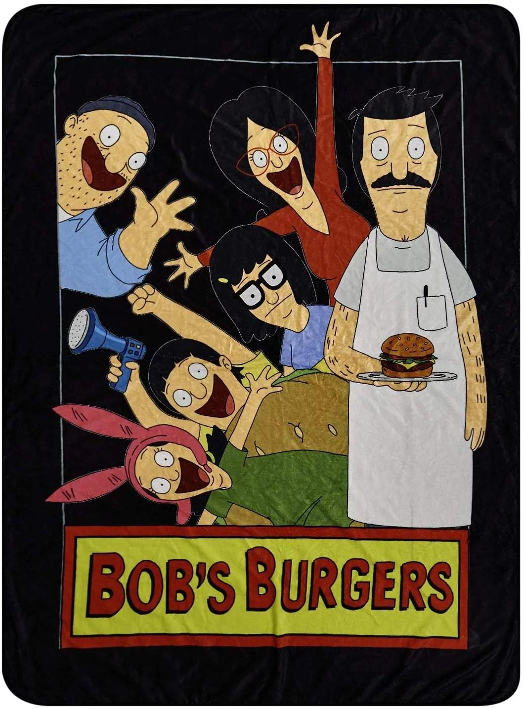 bob s burgers fleece throw blanket bob tina louise belcher throw blanket family photo