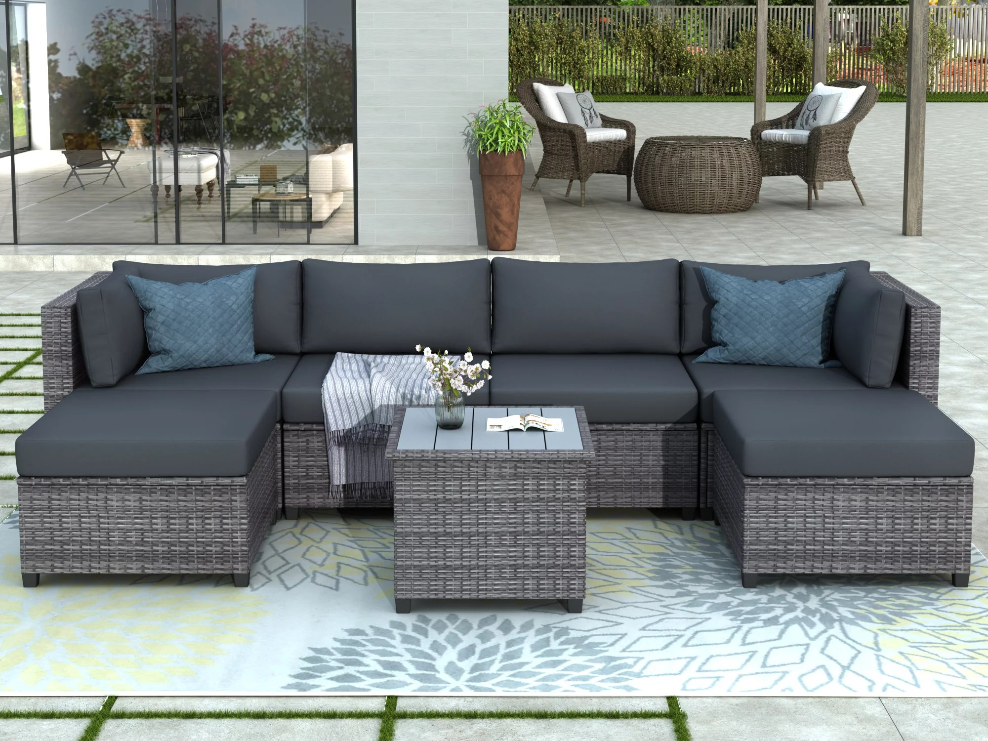 patio furniture set clearance 7 piece patio furniture sets with 4 rattan wicker chairs 2 ottoman coffee table all weather patio sectional sofa set