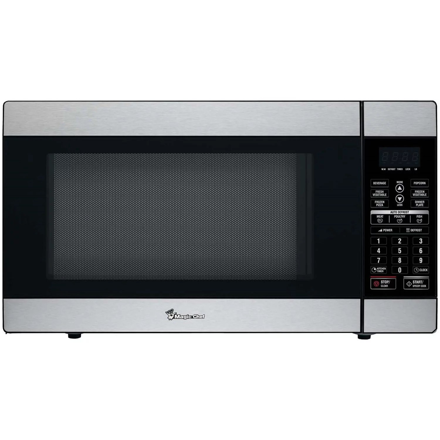 magic chef 1 8 cu ft 1100w countertop microwave oven in stainless steel walmart com