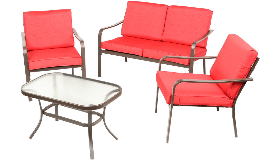 mainstays stanton 4 piece patio furniture conversation set red metal