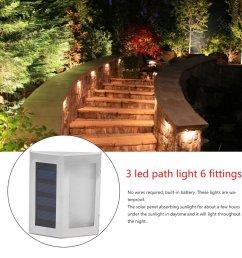 6pcs 3 led solar power path lights outdoor exterior fence wall garden waterproof energy saving street yard security lamp walmart com [ 1010 x 1010 Pixel ]