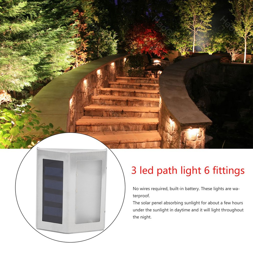 hight resolution of 6pcs 3 led solar power path lights outdoor exterior fence wall garden waterproof energy saving street yard security lamp walmart com