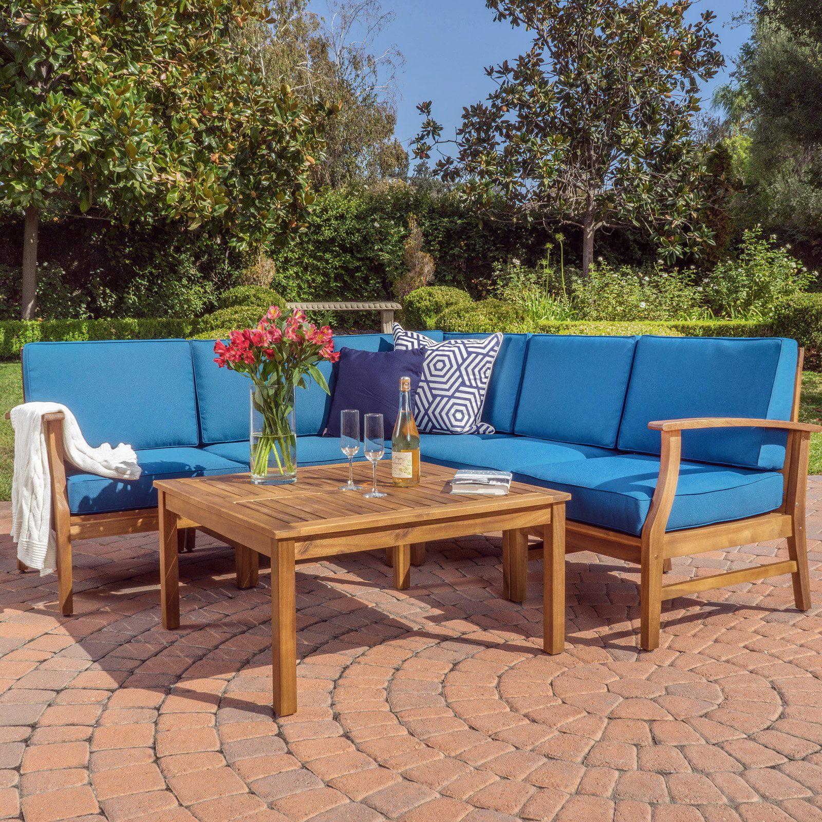 perla wooden 6 piece patio sectional sofa set walmart com