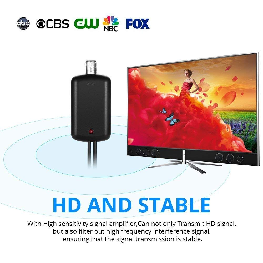 [Newest 2019] Amplified HD Digital TV Antenna Long 60-80 Miles Range – Support 4K 1080p and All Older TV's Indoor Powerful HDTV Amplifier Signal ...