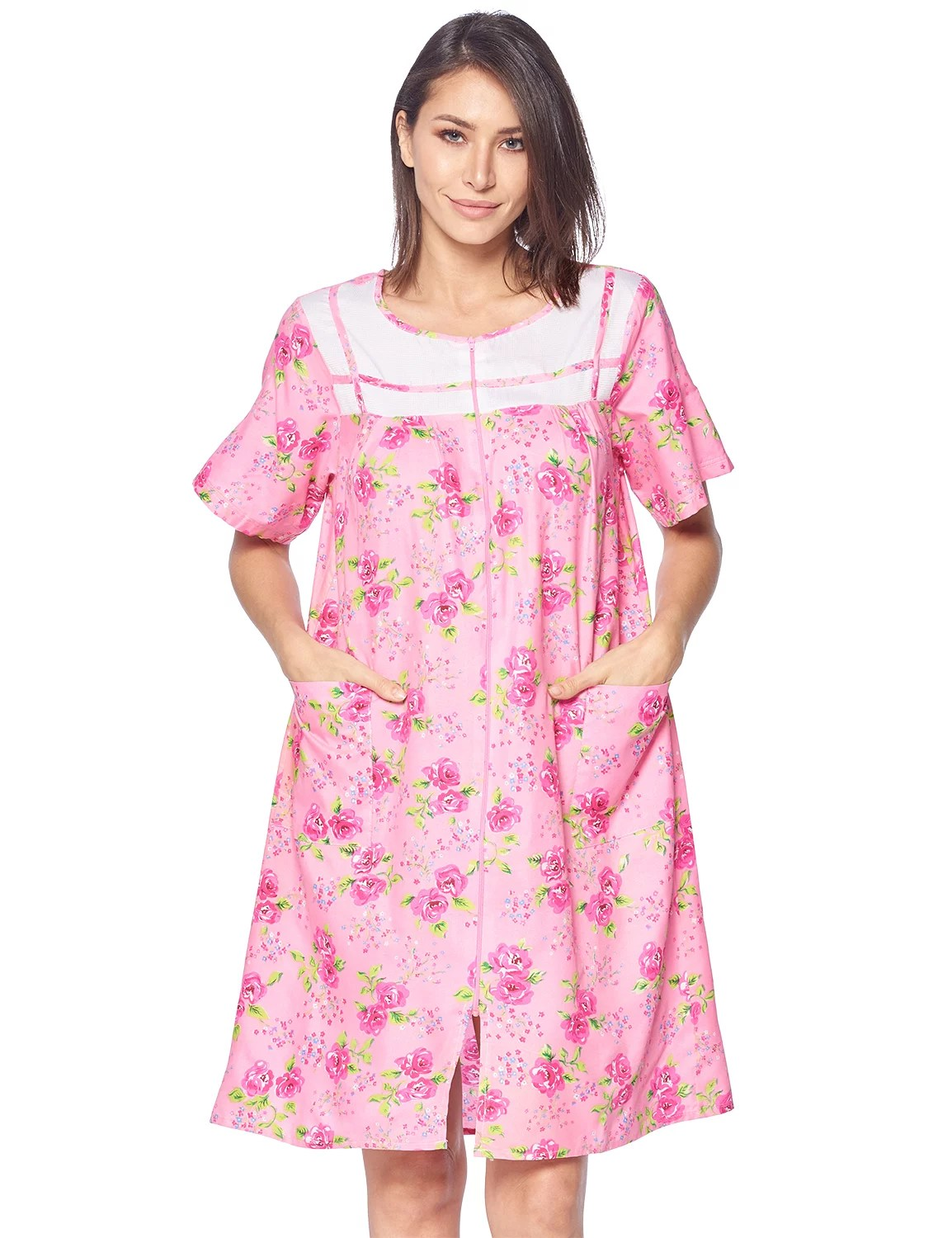 women s zipper front house dress short sleeves duster lounger housecoat robe floral pink x large
