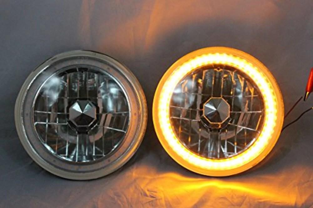 medium resolution of 1975 1980 chevy k10 k20 k5 blazer 7 round 6014 6015 6024 chrome diamond projector headlights amber led halo ring walmart com