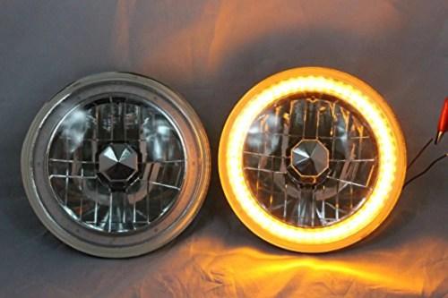 small resolution of 1975 1980 chevy k10 k20 k5 blazer 7 round 6014 6015 6024 chrome diamond projector headlights amber led halo ring walmart com