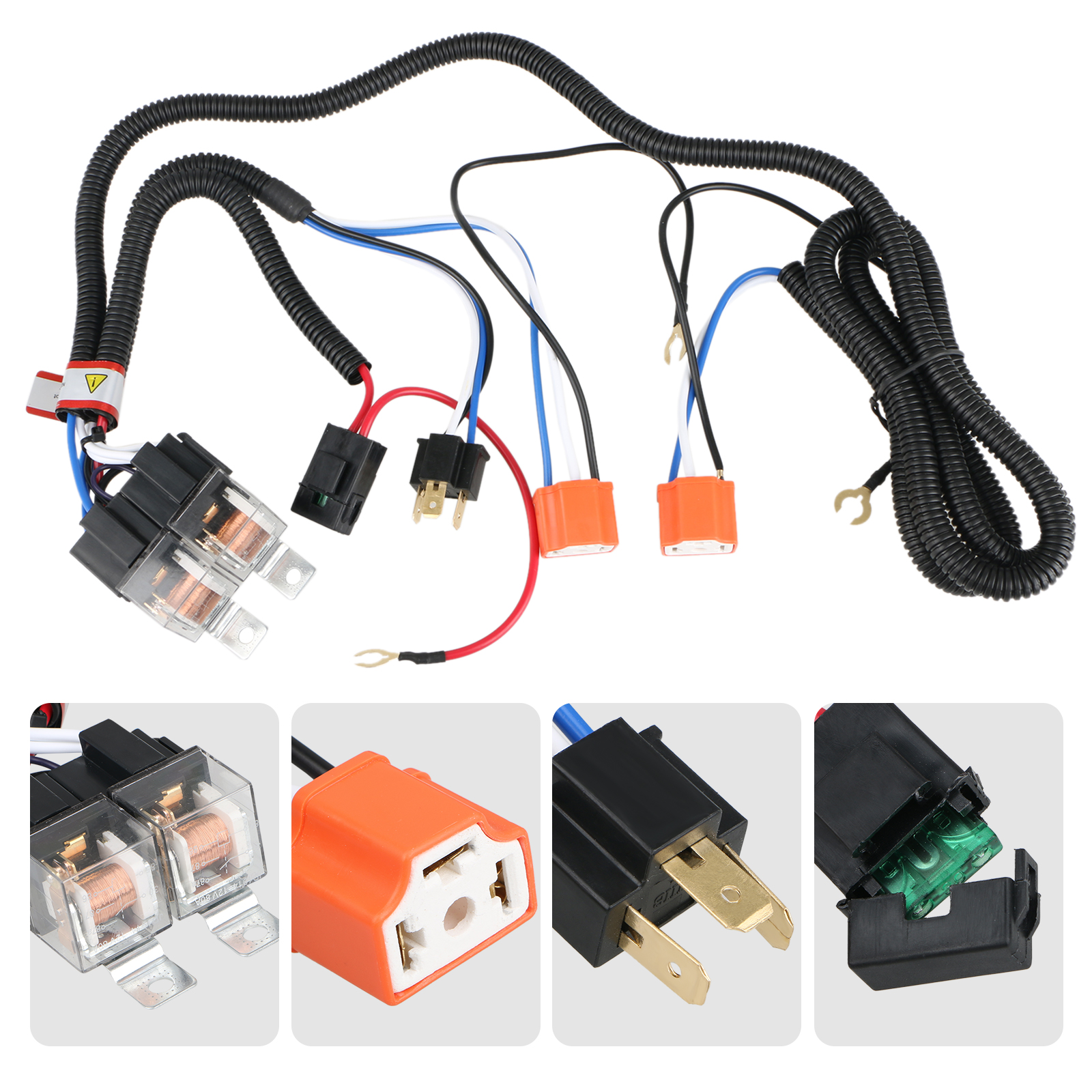 tsv 1set 2 headlight harness h4 headlight relay harness h6054 h4 9003 bulb wiring h4 headlight relay wiring harness [ 1600 x 1600 Pixel ]