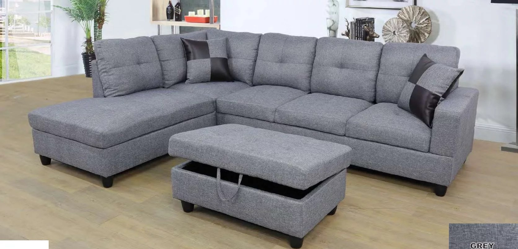 ult gray microfiber sectional sofa left facing chaise 74 5 d x 103 5 w x 35 h