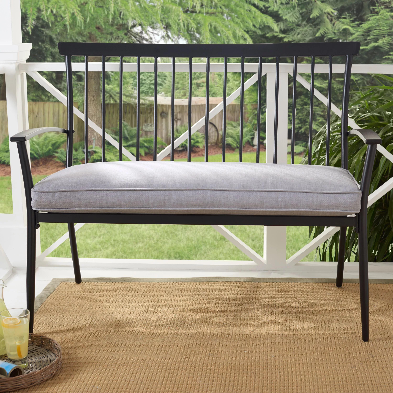 better homes gardens shaker patio bench black with gray cushion walmart com