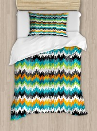 Geometric Twin Size Duvet Cover Set, Abstract Trippy Funky ...