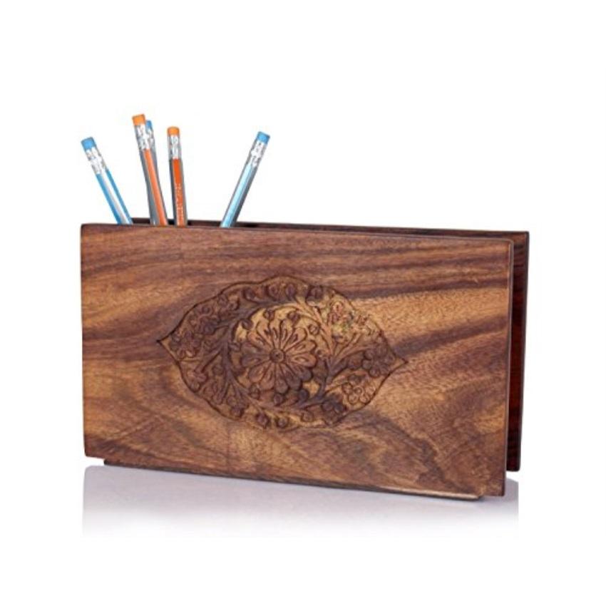 Decorative Wooden Pen Pencil Holder Desk Organizer Office