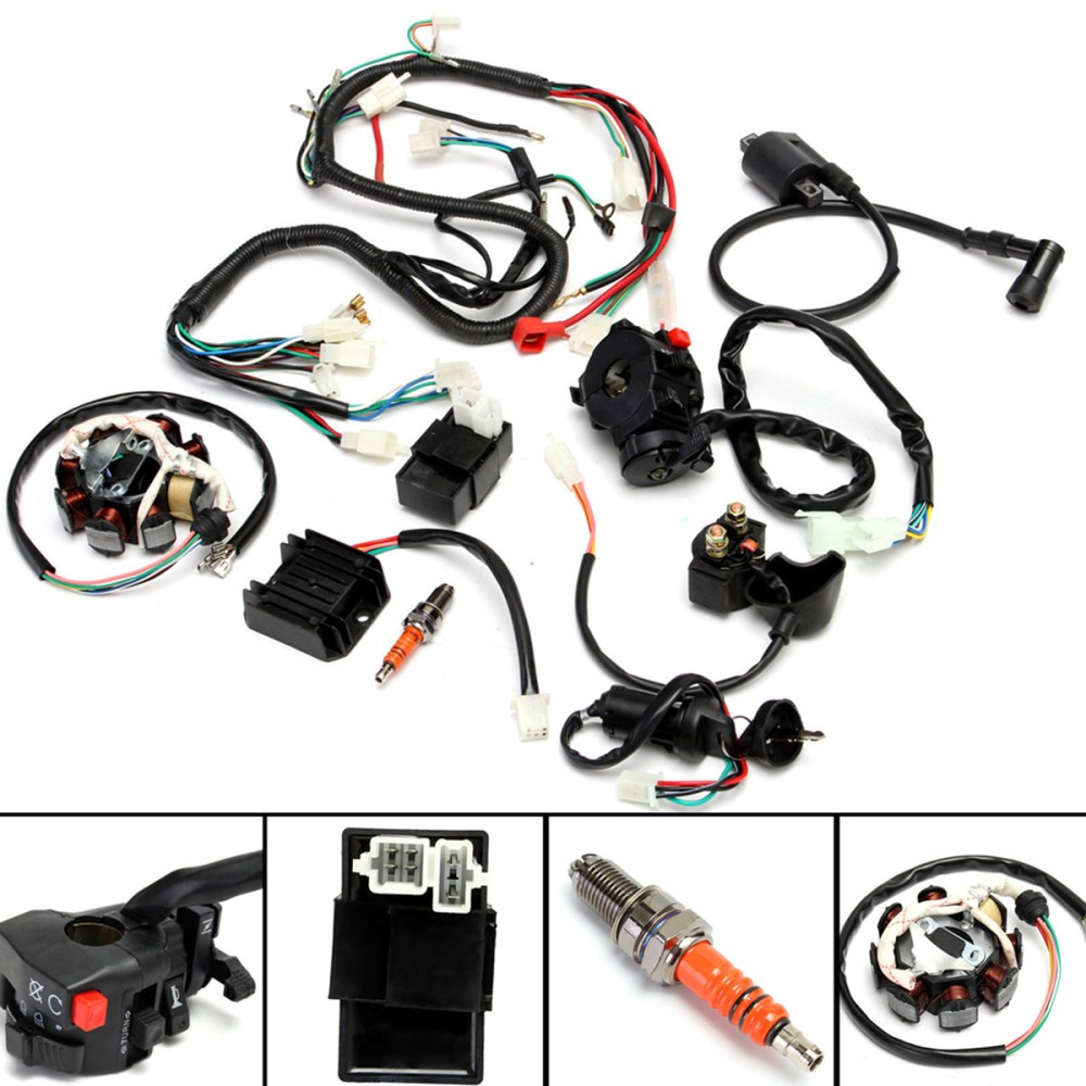 medium resolution of atv electrical wiring harness for chinese dirt bike atv quad 150 250 300cc walmart com