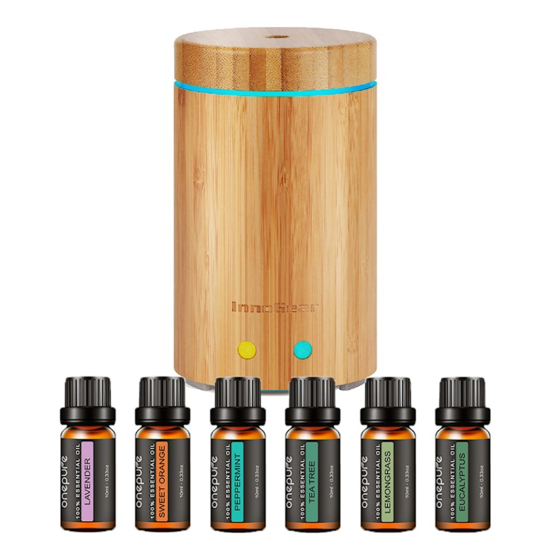 InnoGear Latest Real Bamboo Essential Oil Diffuser Bundle- Ultrasonic Aroma Aromatherapy Diffusers Cool Mist Humidifier withWaterless Auto Off 7 Color LED Light