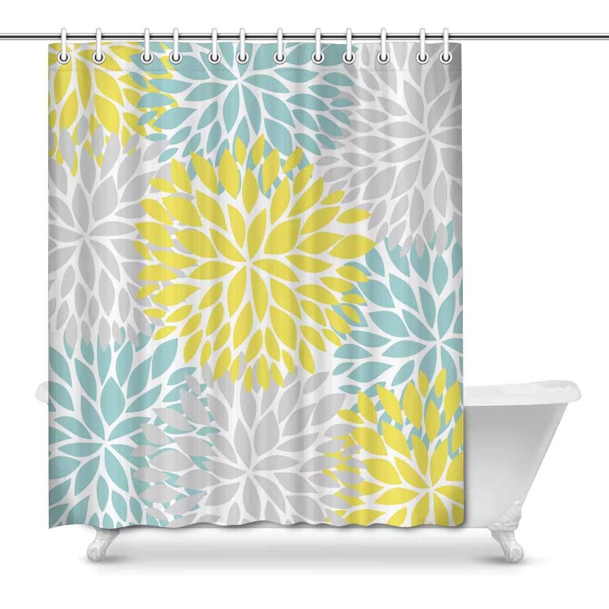 mkhert dahlia pinnata flower yellow light blue and gray decor waterproof polyester bathroom shower curtain bath decorations 66x72 inch