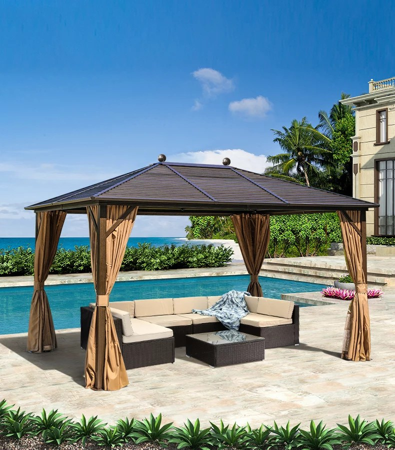 erommy outdoor gazebo canopy curtains galvanized steel hardtop aluminum furniture party tent with netting for garden patio lawns parties 10 13