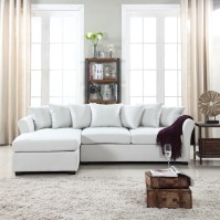 Modern Large Linen Sectional Sofa with Extra Wide Chaise ...