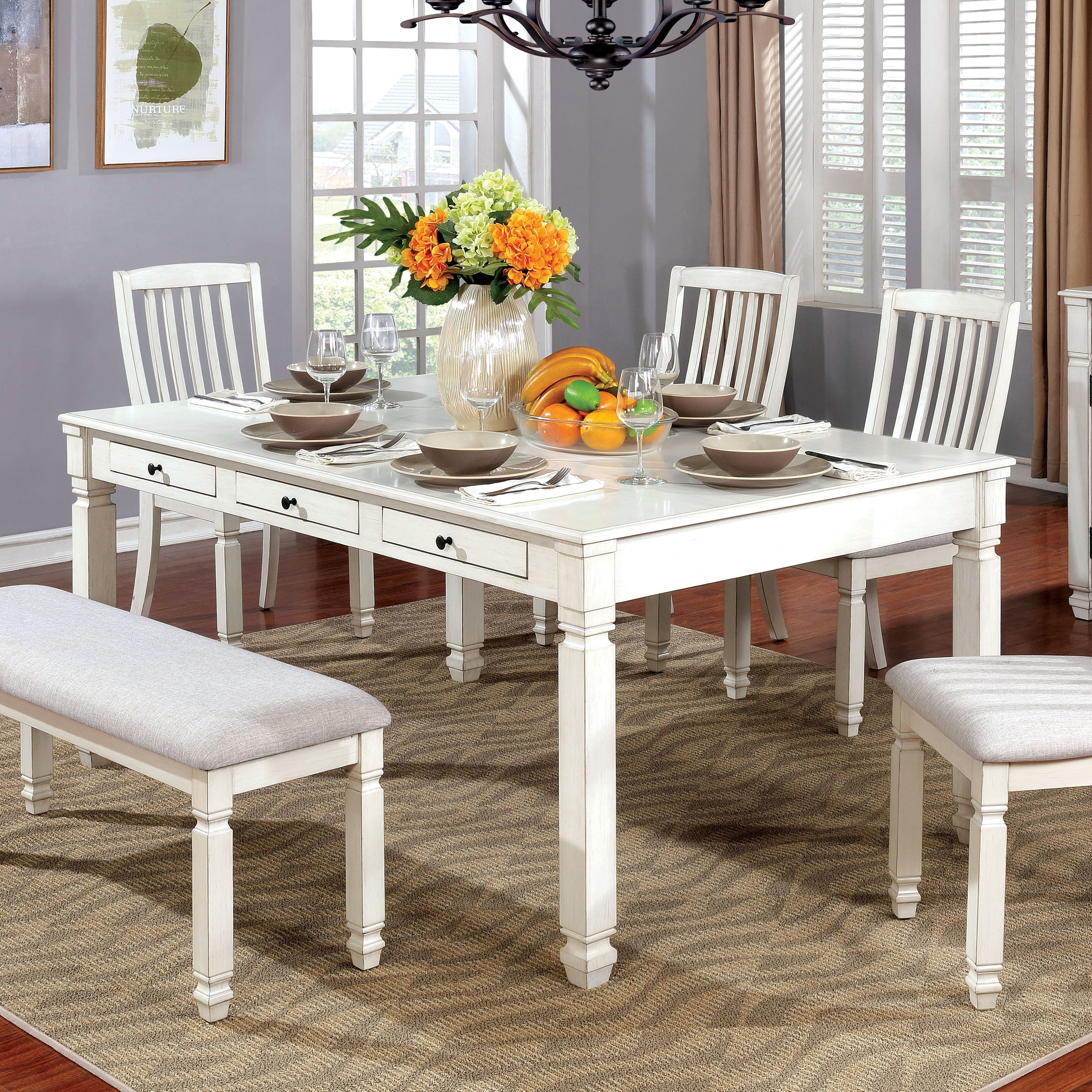 White Dining Room Chair Furniture Of America Aubrie Contemporary Antique White Dining Table By Foa Antique White
