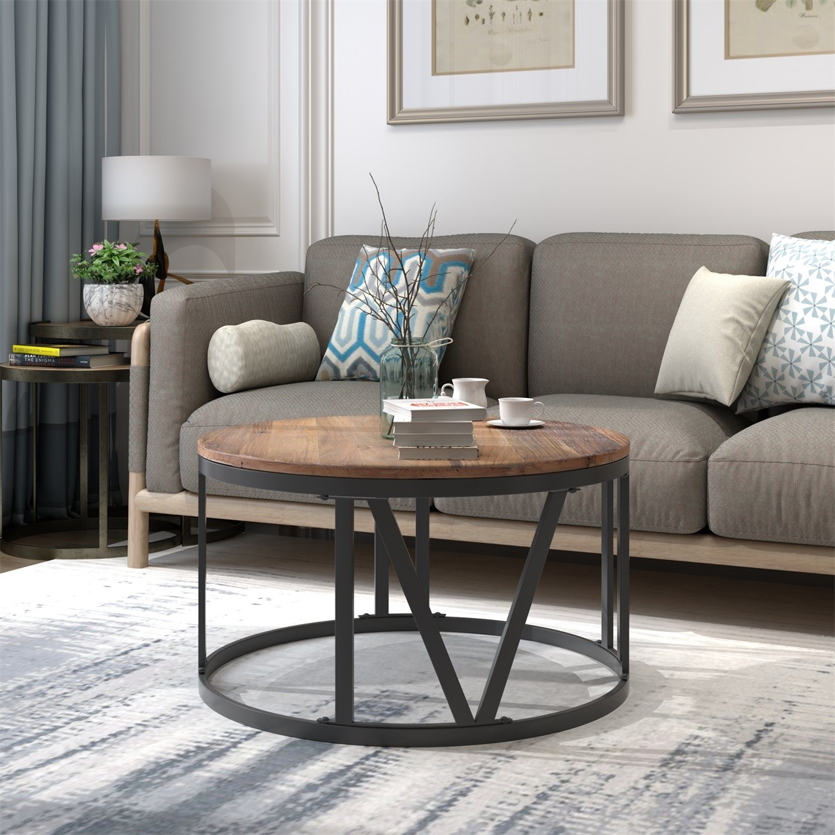 modernluxe rustic coffee table with roman numerically shaped iron legs walmart com