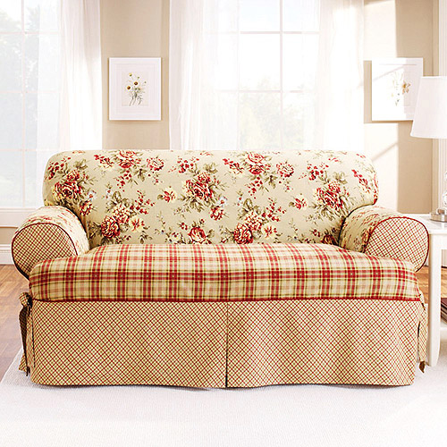Sure Fit Lexington T Cushion Sofa Slipcover Red Walmart Com