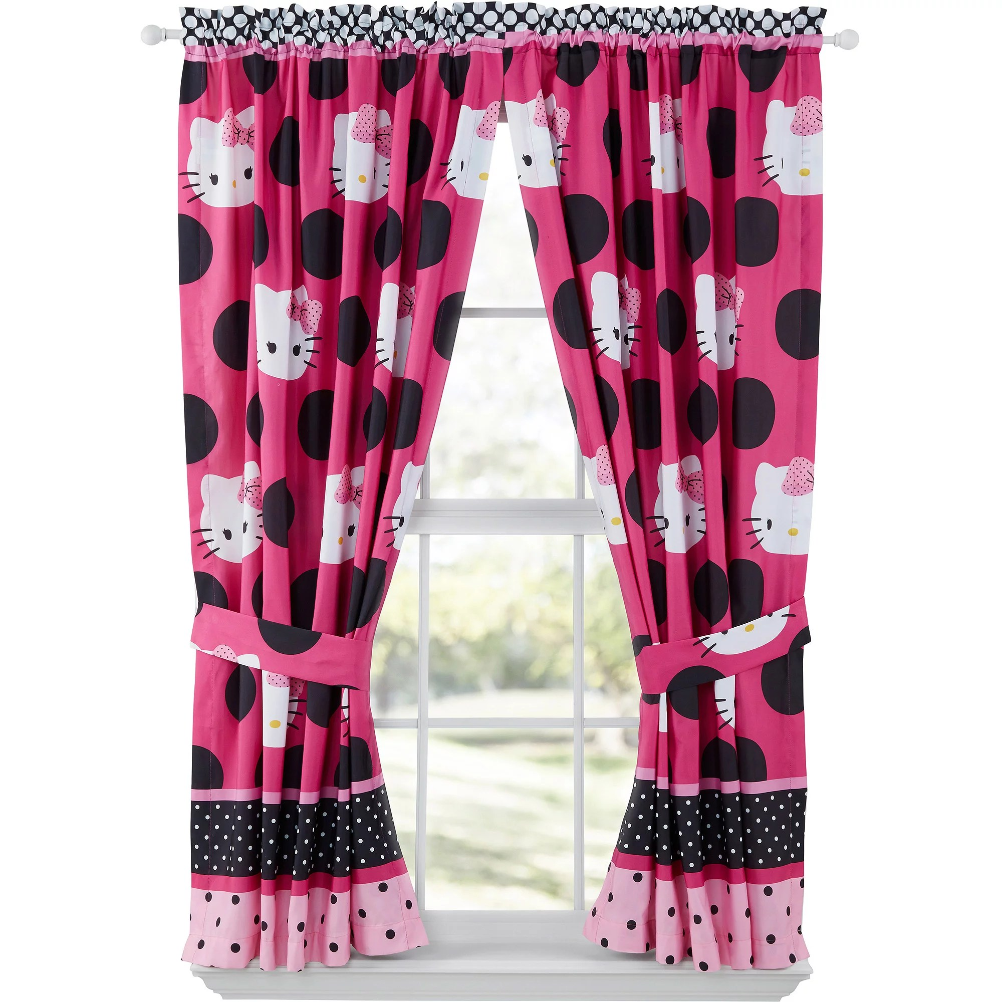 Hello Kitty Dotted in Pink Girls Bedroom Curtain Panels