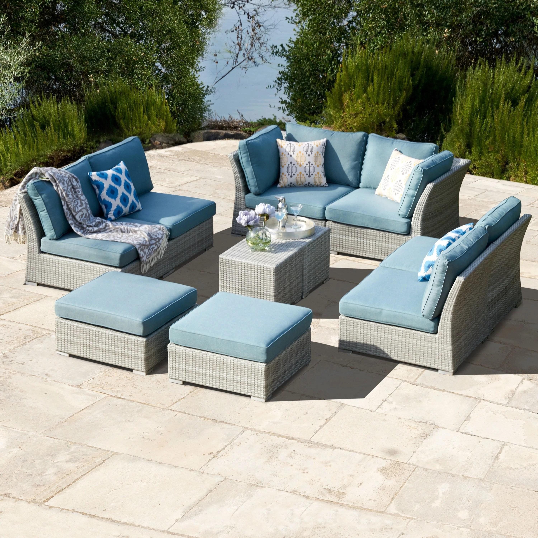 corvus 10 piece grey wicker patio furniture set with blue cushions walmart com