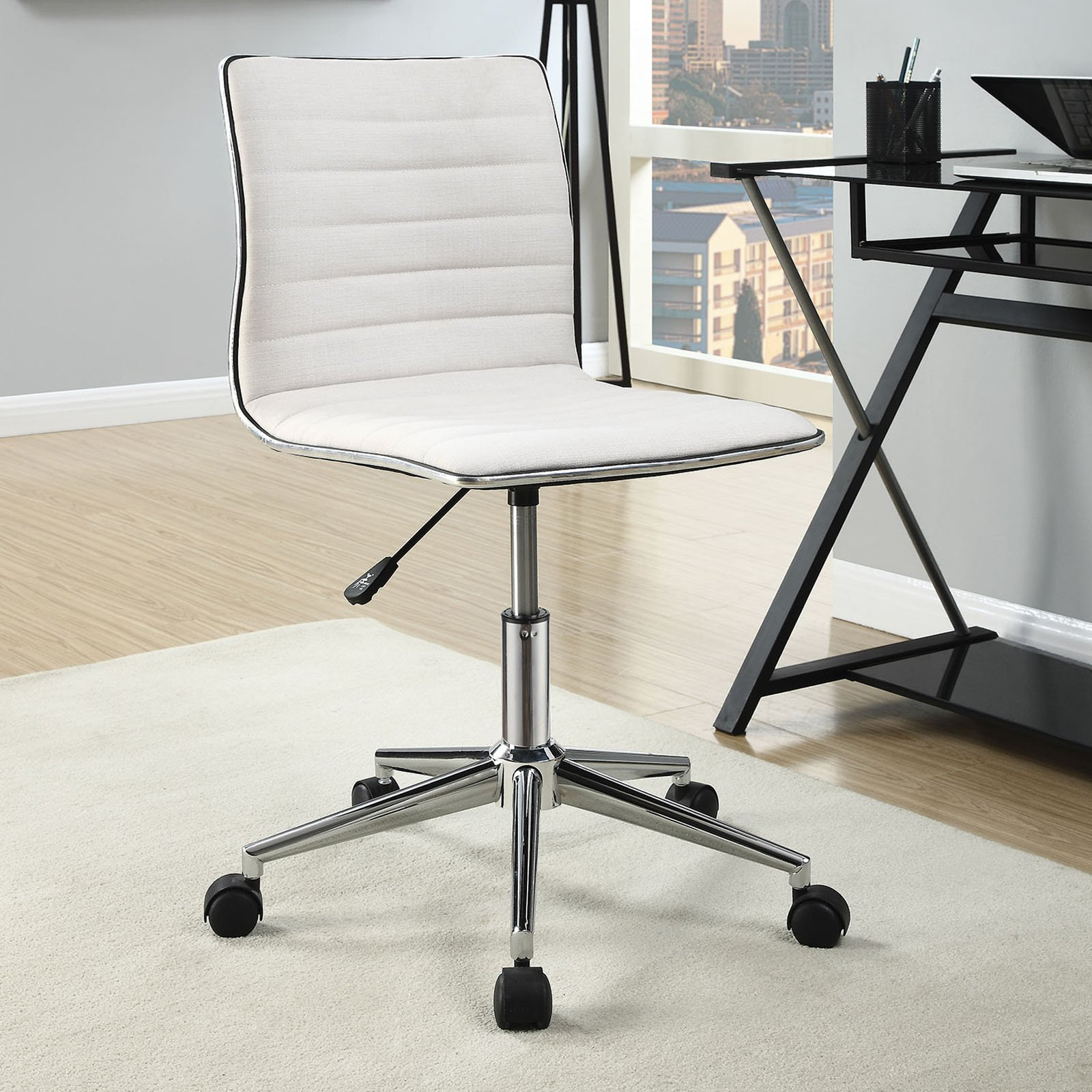 Minimalist Desk Chair Coaster Furniture Fabric Office Chair With Chrome Base
