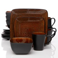 Gibson Elite Autumn Amber 16pc Square Dinnerware Set