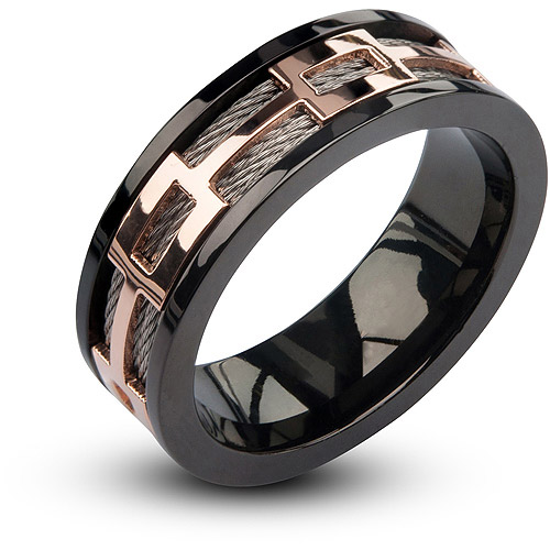 Steel Art Mens Stainless Steel Cable In IP Rose Gold