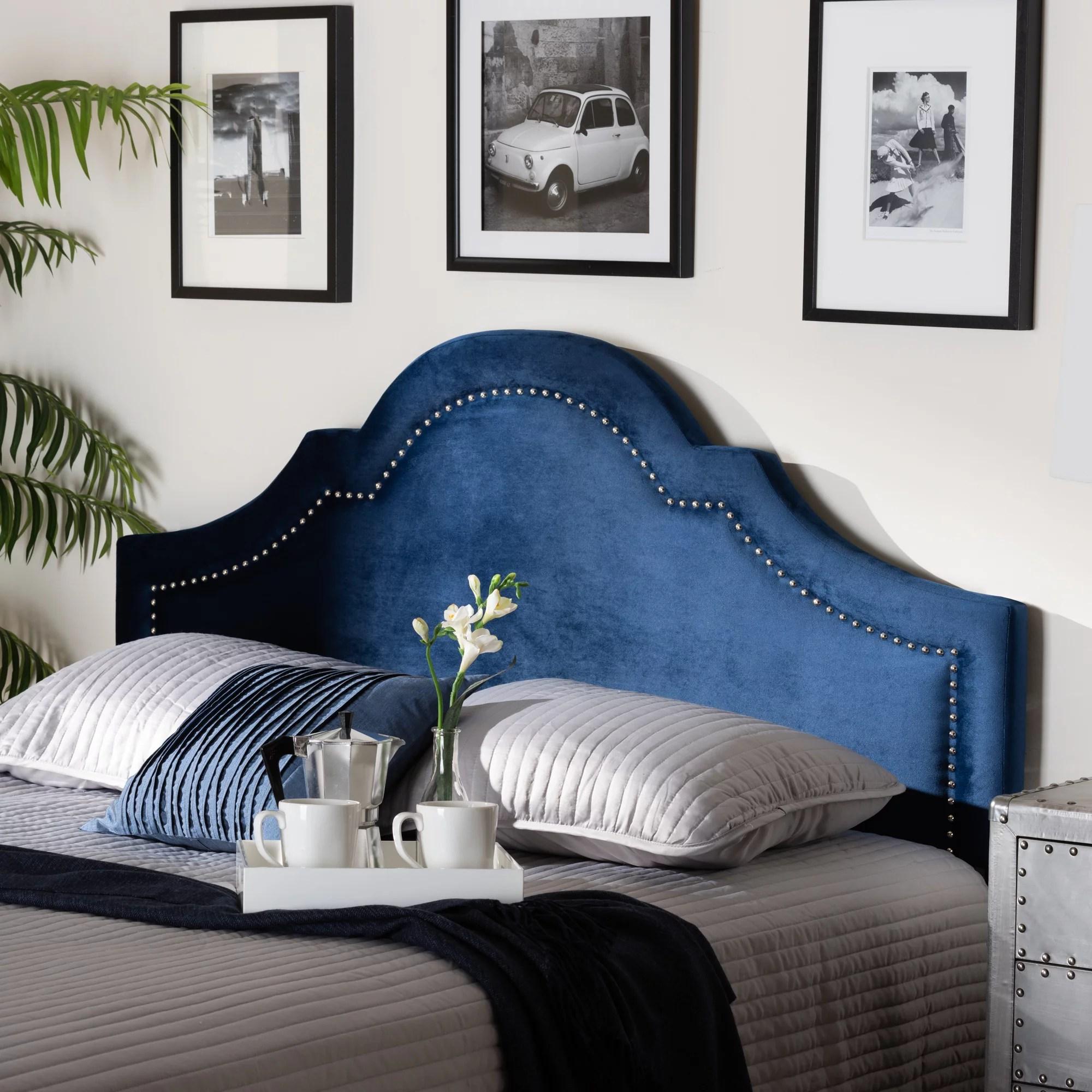 Baxton Studio Rita Modern And Contemporary Navy Blue Velvet Fabric Upholstered King Size Headboard Walmart Com Walmart Com