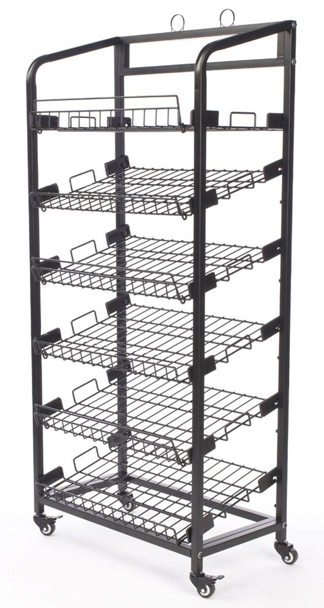 steel baker s rack with wheels 6 wire shelves black bakcrt6tbk
