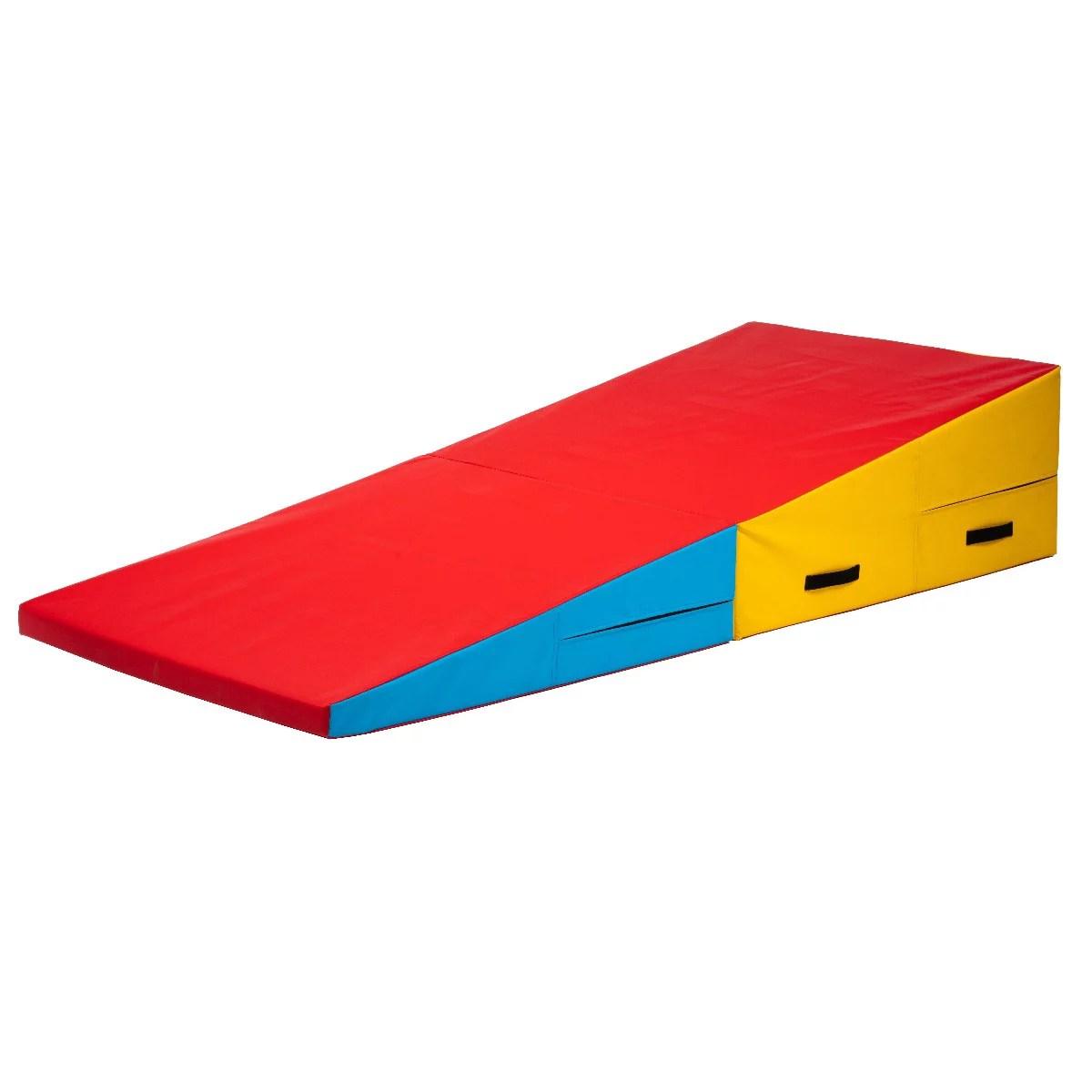 prisp tapis de gymnastique incline matelas de gym en inclinaison pour enfants 180 x 76 x 36 cm