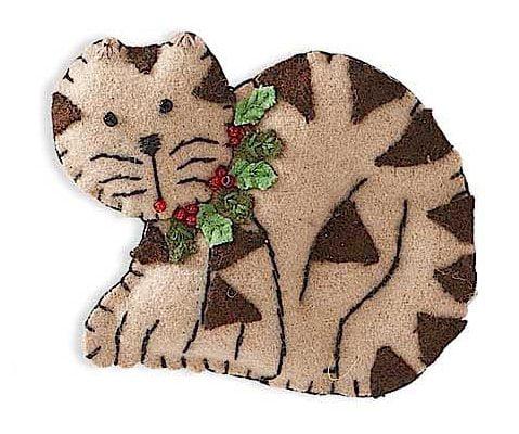 Christmas Felt Cat and Dog Christmas Tree Ornaments Cat Size 6x 3 By KK Interiors