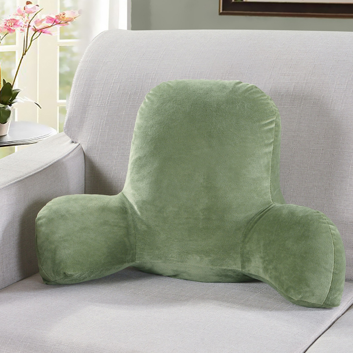 large plush backrest lumbar back reading pillow with arms support tv relax pillow sofa chair cushion for bed rest arm back