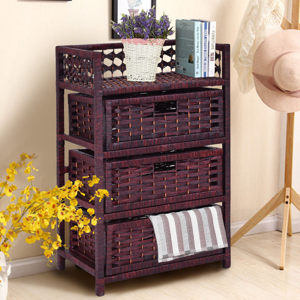 costway 3 drawer storage unit tower shelf wicker baskets storage chest rack walmart com
