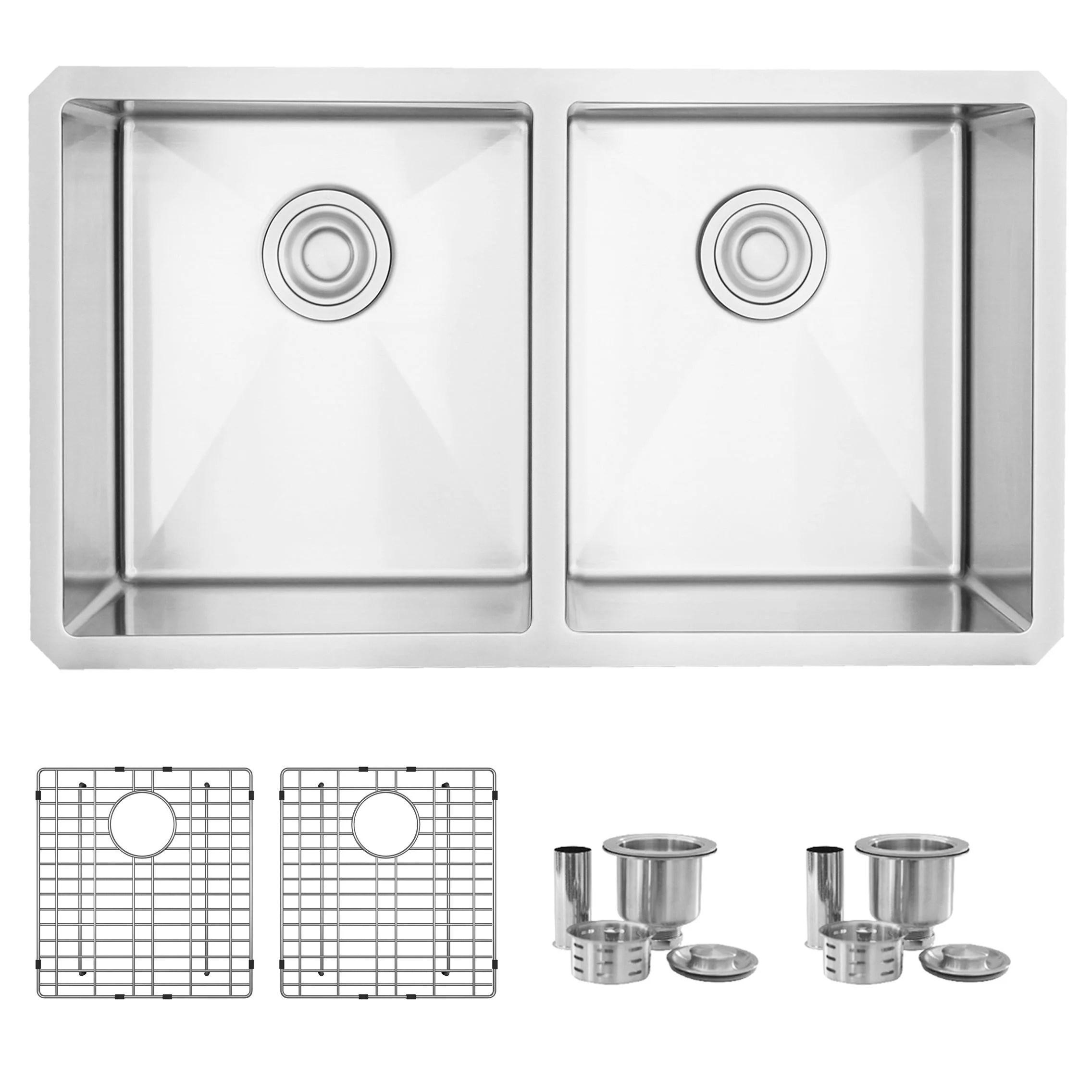 stylish 32 inch double bowl undermount stainless steel kitchen sink