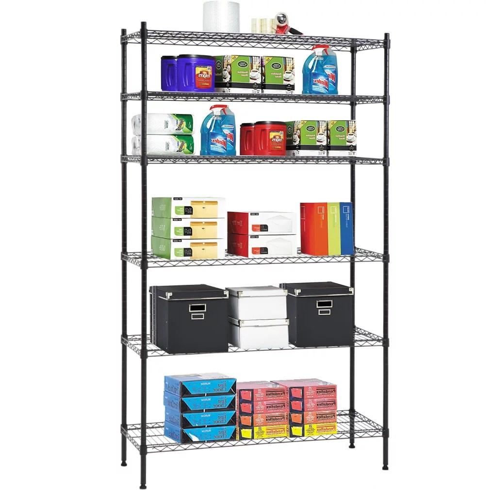 6 shelf wire shelving unit heavy duty metal storage shelves nsf wire shelf organizer black height adjustable utility rolling steel commercial grade